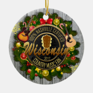Wisconsin Country Music Fan Christmas Ornament