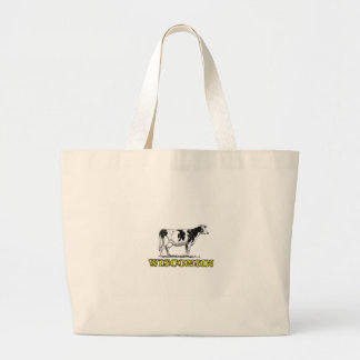 Wisconsin dairy cow large tote bag