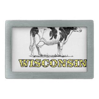 Wisconsin dairy cow rectangular belt buckles