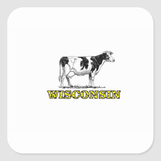 Wisconsin dairy cow square sticker