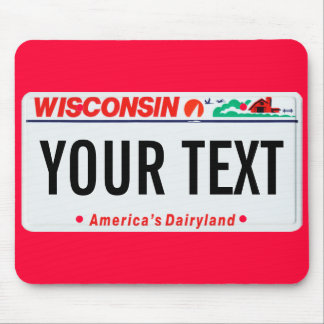 Wisconsin dairyland license plate mouse pad