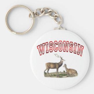 Wisconsin deer scene keychain
