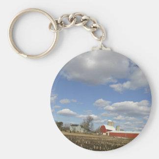 Wisconsin farm on sunny day key chain