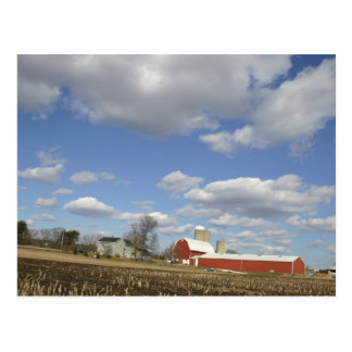 Wisconsin farm on sunny day postcard