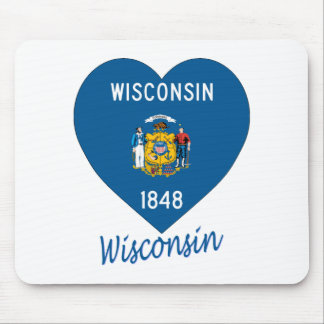 Wisconsin Flag Heart Mouse Pad