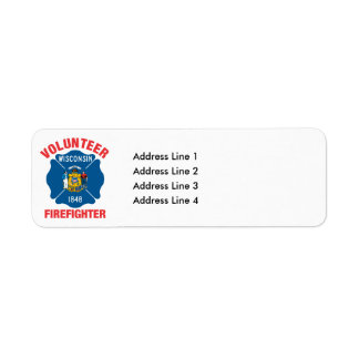 Wisconsin Flag Volunteer Firefighter Cross Return Address Label
