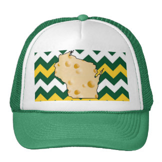 Wisconsin Greenbay Green and Gold Cheeshead Hat