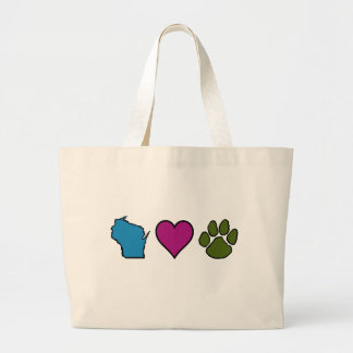 Wisconsin Hearts Animals Large Tote Bag