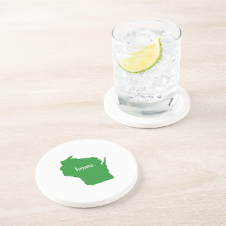 Wisconsin home silhouette state map coaster