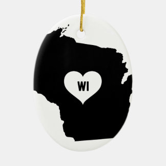 Wisconsin Love Ceramic Ornament