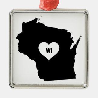 Wisconsin Love Metal Ornament