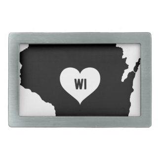 Wisconsin Love Rectangular Belt Buckle