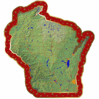 Wisconsin Map Christmas Ornament Cut Out