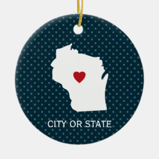 Wisconsin Map Home State Love Custom City Blue Ceramic Ornament