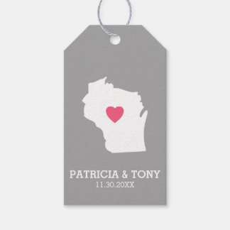 Wisconsin Map Home State Love with Optional Heart Pack Of Gift Tags