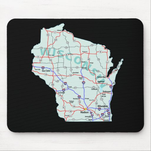 Wisconsin Map Mousepad