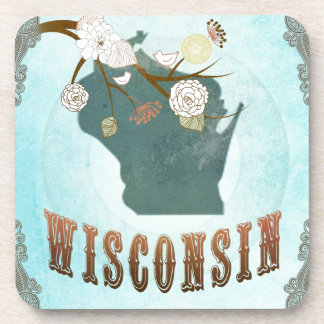 Wisconsin Map With Lovely Birds Drink Coaster