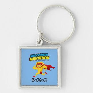 Wisconsin Marathon Post-Marathon Silver-Colored Square Keychain