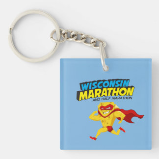 Wisconsin Marathon Race Day Double-Sided Square Acrylic Keychain