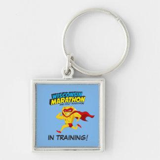 Wisconsin Marathon Training Silver-Colored Square Keychain