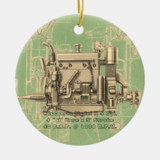 Wisconsin Motor Milwaukee Wisconsin gas engine X Ceramic Ornament