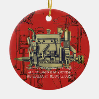 Wisconsin Motor Milwaukee Wisconsin gas engine X Ceramic Ornament