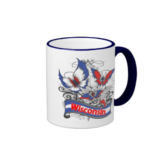 Wisconsin Patriotism Butterfly Ringer Mug