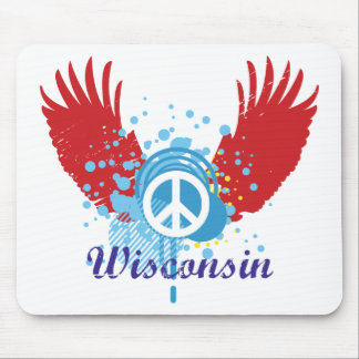Wisconsin Peace Sign Mouse Mats