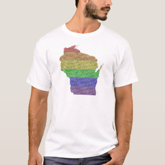 Wisconsin Rainbow Pride Flag Mosaic For Him T-Shirt