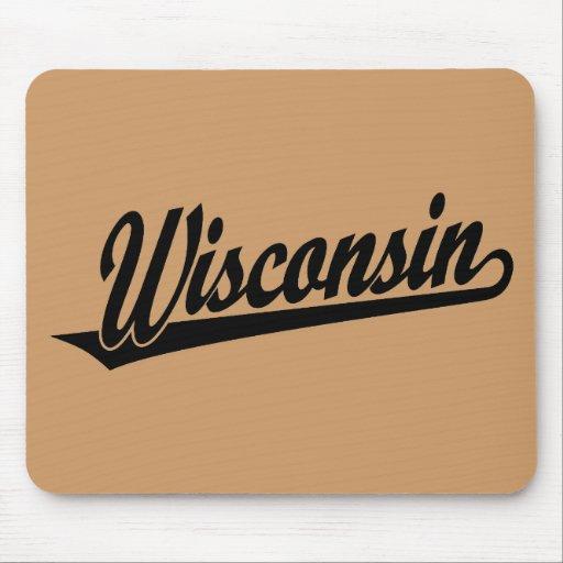 Wisconsin script logo in black mousepad