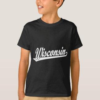 Wisconsin script logo in white T-Shirt
