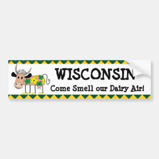Wisconsin, Smell our Dairy Air Humor Cow Shirt Bumper Sticker
