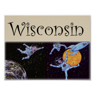 Wisconsin Space Cows Poster