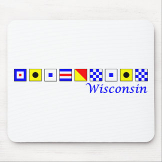Wisconsin spelled in nautical flag alphabet mouse pad
