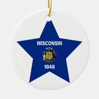 Wisconsin Star Ceramic Ornament