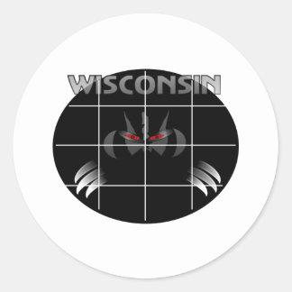 Wisconsin State Badger Design Round Sticker