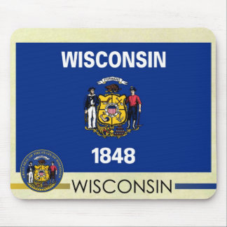 Wisconsin State Flag and Seal Mouse Pad