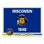 Wisconsin State Flag and Seal Postcard