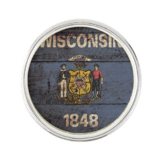 Wisconsin State Flag on Old Wood Grain Lapel Pin