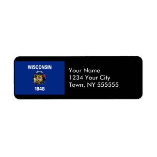Wisconsin State Flag Return Address Label