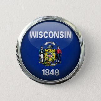 Wisconsin State Flag Round Glass Ball 2 Inch Round Button