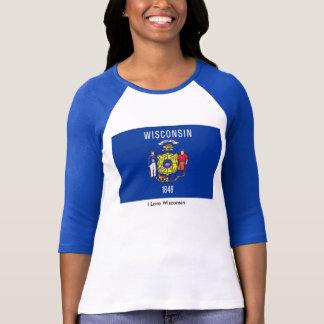 Wisconsin State flag Women's-T-Shirt-White-Blue T-shirts
