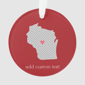Wisconsin State Map with Custom Red Heart and Name Ornament