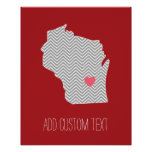 Wisconsin State Map with Custom Red Heart and Name Poster