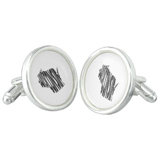 Wisconsin State Name Word Art Black Cuff Links