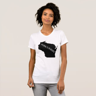 Wisconsin State Outline Shirt Black