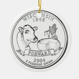 Wisconsin State Quarter Ceramic Ornament
