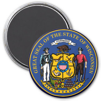 Wisconsin State Seal 3 Inch Round Magnet