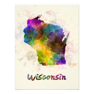 Wisconsin U.S. state in watercolor Photo
