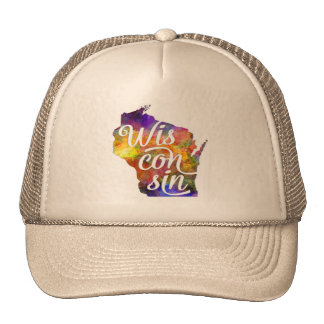 Wisconsin U.S. State in watercolor text cut out Trucker Hat